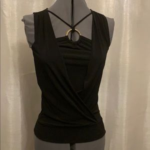 Wooden Neck Detail, Stretchy Black Top